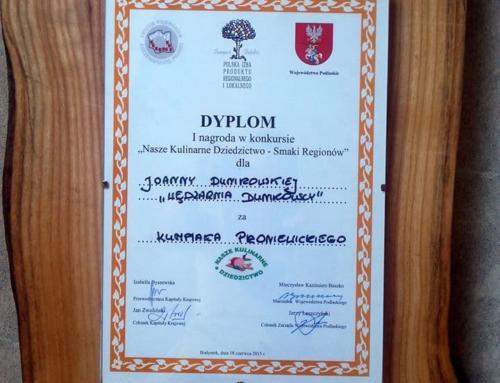 1 miejsce w konkursie Nasze Kulinarne Dziedzictwo